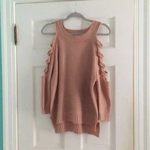 Blush open shoulder distressed sweater